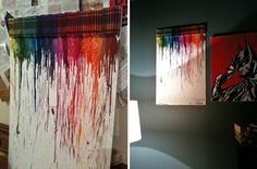 Melted crayon art.  The girls and I are so going to do this for their bedroom.