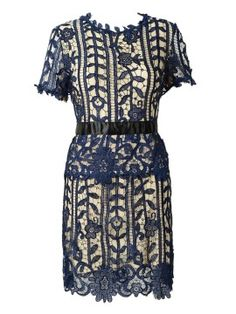 Shop Dark Blue Crochet Lace Slit Back Short Sleeve Dress from choies.com .Free shipping Worldwide.$40.99