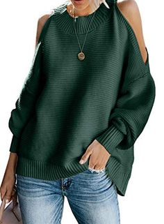 Amazing offer on LOSRLY Women Long Sleeve Cold Shoulder Fall Knit Sweater Loose Pullover Tunic Tops(S-XL) online – knitting sweaters long Fall Fashion Outfits, Women's Fashion, Latest Fashion, Cold Shoulder Sweater, Loose Sweater, Pullover Sweaters, Cardigans, Jumper, Knitting Sweaters