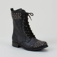 military black studded boots