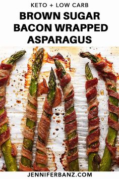 Brown Sugar Bacon Wrapped Asparagus baked in the oven is perfect for weeknight dinners. This recipe is so delicious you will want to upgrade it from side dish to the main Net Carb recipe bacon wrapped Brown Sugar Bacon Wrapped Asparagus Asparagus In Oven, Grilled Asparagus Recipes, How To Cook Asparagus, Fresh Asparagus, Bacon Wrapped Asparagus Baked, Asparagus Bacon, Roast Asparagus, Baking Recipes, Keto Recipes