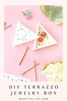 DIY Terrazzo Triangle Trinket Box - Maritza Lisa Home Crafts, Easy Crafts, Diy Home Decor, Diy And Crafts, Craft Tutorials, Craft Projects, Diy Paper, Paper Crafts, Do It Yourself Decorating