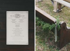 Vintage Wedding Program - NC Wedding Planner - Full story found at: www.orangerieevents.com & Photography by Brett and Jessica Photography