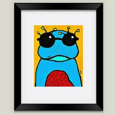 Fun Indie Art from BoomBoomPrints.com! https://www.boomboomprints.com/Product/luckiiarts/Frog_with_Glasses/Framed_Art_Prints/11x14_Black_Frame_White_Matte_Print/