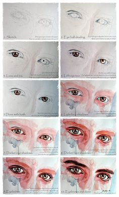 How to Draw eyes Watercolor eyes in flesh tone tutorial with thanks to janebeata on deviantART Study Resources for Art Students CAPI Create Art Portfolio Ideas at Art S. Watercolor Face, Watercolor Portraits, Watercolor Paintings, Watercolor Portrait Tutorial, Abstract Paintings, Oil Paintings, Watercolor Skin Tones, Watercolor Pencils, Watercolor Flowers