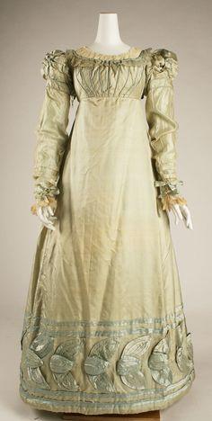 Dress: ca. 1820, American, silk, trim.