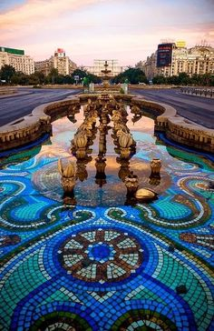 """Unification Boulevard in Bucharest, Romania. It ends at the Palace of the Parliament, the biggest building of Europe, a 'gift' from Ceausescu. A lot of historical buildings made way for this boulevard. It's the communist version of the Champs-Élysées (in Paris)."""