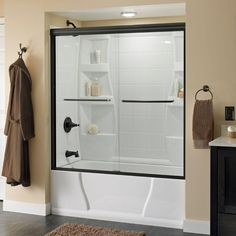 Delta Simplicity 59-3/8 in. x 56-1/2 in. Sliding Bypass Tub Door in Oil Rubbed Bronze with Frameless Clear Glass-159243 at The Home Depot