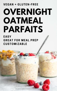 Easy and filling overnight oatmeal with yummy parfait toppings like yogurt and berries. Try them for a quick and healthy breakfast. This recipe is vegan and gluten-free.  #easybreakfast #glutenfree #healthybreakfast #veganrecipes #veganfood #veganoatmeal #healthyeating #overnightoats