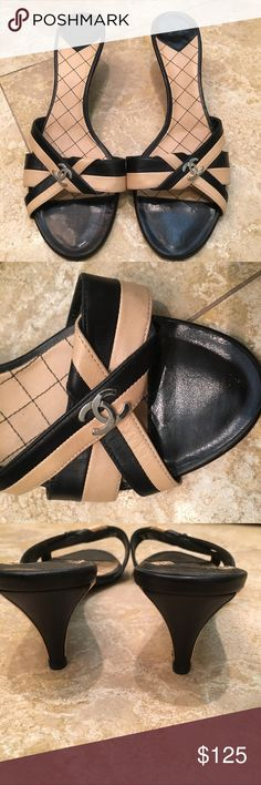 Chanel low heel sandals with logo! Like new! Super cute and classy Chanel sandals with logo!  Worn twice.  Size 39 CHANEL Shoes Sandals