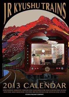 Eiji Mitooka designed the new luxury train Nanatsuboshi (seven stars) which travels around Kyushu, Japan 水戸岡鋭治氏デザイン「ななつ星 in 九州」 Train Posters, Railway Posters, Graphic Design Posters, Graphic Design Illustration, Trains, Train Illustration, Japan Train, Travel Ads, Poster Design Inspiration