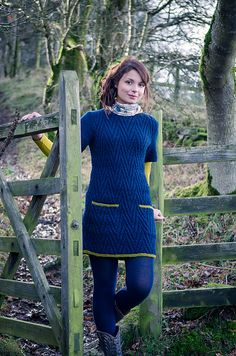 Worsted weight chevron sweater dress or tunic with pockets knit in The Fibre Company Cumbria Ravelry: Helga pattern by Emma Wright