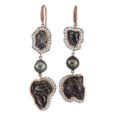 14kt red gold shepherd hook earrings with Sikote meteorite, Tahitian pearls and diamonds. A Jorge Adeler original design.
