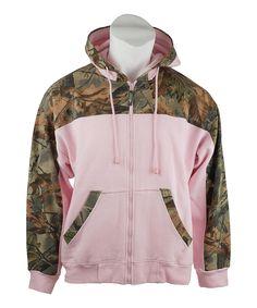 Pink Camo Woodland Zip-Up Hoodie
