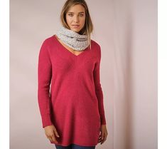 Úpletová tunika s výstrihom do V, terakota Turtle Neck, Sweaters, Dresses, Fashion, Tunic, Vestidos, Moda, Fashion Styles, Sweater