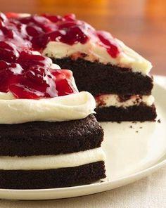#GlutenFree Cherries and Cream Devil's Food Cake