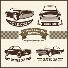 Decorative logos with vintage cars Free Vector