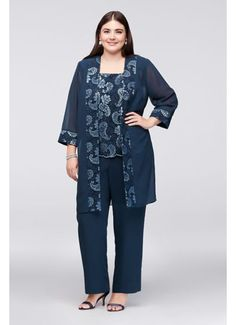8738f0d36b0 Sequin paisleys add gorgeous sparkle to the sleeveless shell and chiffon  jacket of this three-piece plus-size pantsuit. By Le Bos Three-piece  ensemble ...