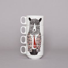 Material: bone china Dimensions: H6xD8cm Stacked dimensions: H20cm Set of four stackable coffee cups Featuring a quirky Geography Teacher design