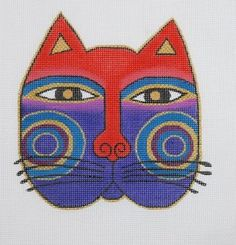 Image Detail for - Laurel Burch Cat Face Needlepoint Canvas.