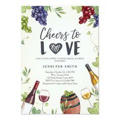 Cheers to Love Bridal shower invite Wine Tasting Winery Bridal Showers, Bridal Shower Wine, Rustic Bridal Shower Invitations, Vintage Invitations, Custom Invitations, Wedding Invitations, Couple Shower, Cata, Wine Tasting