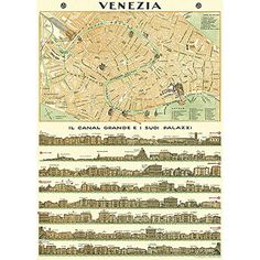 """Vintage Posters Prints Cheap & Chic Art Pictures 20"""" x 28 Map of Venice Cavallini Papers & Co. $19.99"""