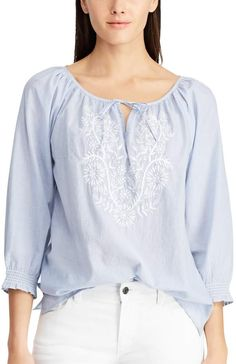Chaps Women's Floral Emboridered Peasant Top