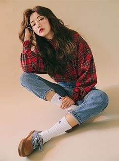 Three Gel Check Tartan Check Blouse #KoreanFashion