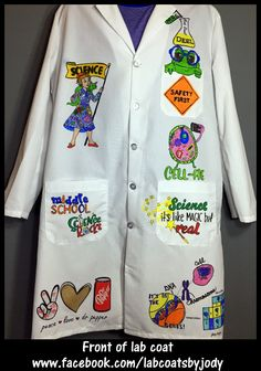Personalized, illustrated, machine washable lab coats - Now taking orders! Each is a unique, one-of-a-kind creation. Visit my link to find out more www.facebook.com/labcoatsbyjody Middle School Science, Beginning Of School, Lab Coats, Classroom Displays, Peace And Love, How To Find Out, Facebook, Link, Unique