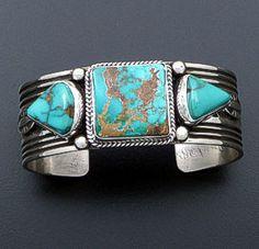 Albert Jake (Navajo) - Three Stone Pilot Mountain Turquoise & Sterling Silver Cuff Bracelet #40413 $600.00