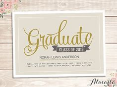 DIY Custom Printable GRADUATION Announcement Invitation Card.