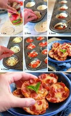 Cut dough, press into a muffin dish, add sauce, then pepperoni . Cute little mini pizza bites! Bake on 350 for 20 min. Mini Pizzas, Pizza Muffins, Pizza Cupcakes, Baking Cupcakes, Mini Muffins, Mini Cupcakes, Pizza Bites, Pizza Cups, Bagel Bites