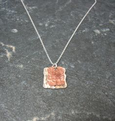 Items similar to Silver and Copper Square Pendant - Upcycled Recycled Repurposed on Etsy Repurposed, Upcycle, Projects To Try, Copper, Necklaces, Pendant, Silver, Etsy, Jewelry