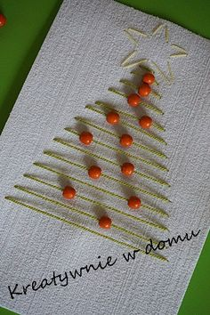 A simple but effective design for handmade christmas cards. Mix it up by choosing your own colour of thread and beads. Homemade Christmas Cards, Christmas Cards To Make, Christmas Art, Homemade Cards, Handmade Christmas, Christmas Decorations, Christmas Ornaments, Navidad Simple, Diy Cards