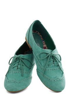 Just a Jiffy Flats in Mint - Mint, Solid, Menswear Inspired, Flat, Good, Lace Up, Faux Leather, Casual, Vintage Inspired, Pastel, Variation