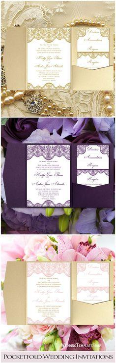 Pocketfold Wedding Invitations, DIY Templates, Gold, Purple, Blush Pink.