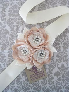 Champagne Bridal Flower Dress Sash. Something similar to add a touch of color to First Communion dress?