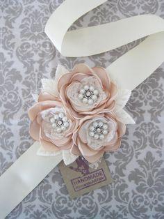 Champagne Bridal Flower Dress Sash. Bridal Gown Sash. Champagne Flower Dress Sash. Rustic Vintage Look Wedding Flower Dress Sash.