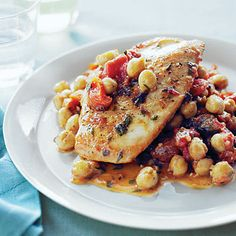 Chicken with Tomatoes, Apricots, and Chickpeas The mix of apricots, spices, and tomatoes gives a delicious twist to chicken dinner.