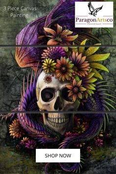 The Flowery Skull Inked Men, Living Room Canvas, Steampunk, Beautiful Dark Art, Skull Artwork, All That Matters, Diy Painting, Halloween, Lovers Art