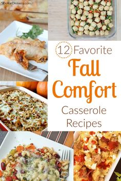 You'll want to check out my 12 Favorite fall comfort casserole recipes! They're easy to make and make excellent dinner ideas! Fall Dishes, Dinner Dishes, Fall Recipes, Dinner Recipes, Dinner Ideas, One Dish Dinners, Batch Cooking, Healthy Dishes, Budget Meals