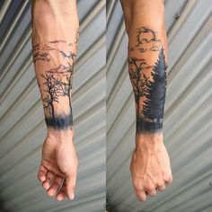 Tattoo Trends - Idée de tatouage homme dos tatouage ligne de vie dessin tatoo foret - Natur Tattoo Arm, Natur Tattoos, Nature Tattoo Sleeve, Sleeve Tattoos, Forest Tattoo Sleeve, Cool Little Tattoos, Forest Tattoos, Back Tattoos For Guys, Tree Tattoo Designs