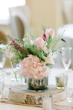 #centerpiece  Photography: Michelle Lange - loveandbemarried.com  Read More: http://www.stylemepretty.com/2014/08/14/romantic-pastel-military-wedding/