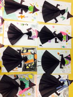 Hallowe'en art and crafts for kids. Witches. Paper accordian dress.