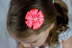 Neon Pink Baby Flower Headband - Neon Pink and Ivory Satin Petal Flower Handmade Headband - Baby to Adult Headband by GoldenBeam on Etsy
