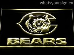 Chicago Bears Bear - LED neon sign light display made of the premium quality clear plastic and glowing colorful LED illumination. The neon sign looks exactly the same from every angle thanks to the carving with the latest 3D laser engraving technology. This LED neon sign is a great gift idea! The neon is provided with a metal chain for displaying. Available in 3 sizes in following colours: Purple, Yellow, White, Orange, Blue, Red and Green!