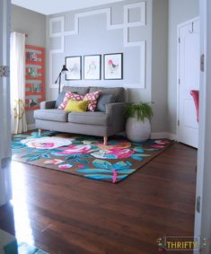 HUGE Office Makeover with Greek Key Molding and a rugs usa colorful floral rug! Interior Decorating Styles, Decorating On A Budget, Hallway Decorating, Ikea, Decoration Inspiration, Decor Ideas, Diy Ideas, Wall Molding, Office Makeover