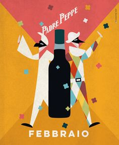 Illustrazione per calendario di Padre Peppe. #illustration #calendar #liquor