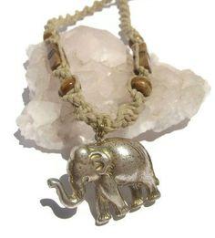 Elephant Macrame Necklace Hemp Adjustable by Abundantearthworks, $18.00