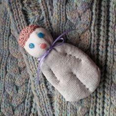 Lavender Valentine Sock Doll Sachet White w/Blue Stone Eyes Pink Stone Mouth